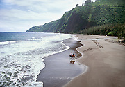 Horseback riding on beach, Waipio Valley, Island of Hawaii