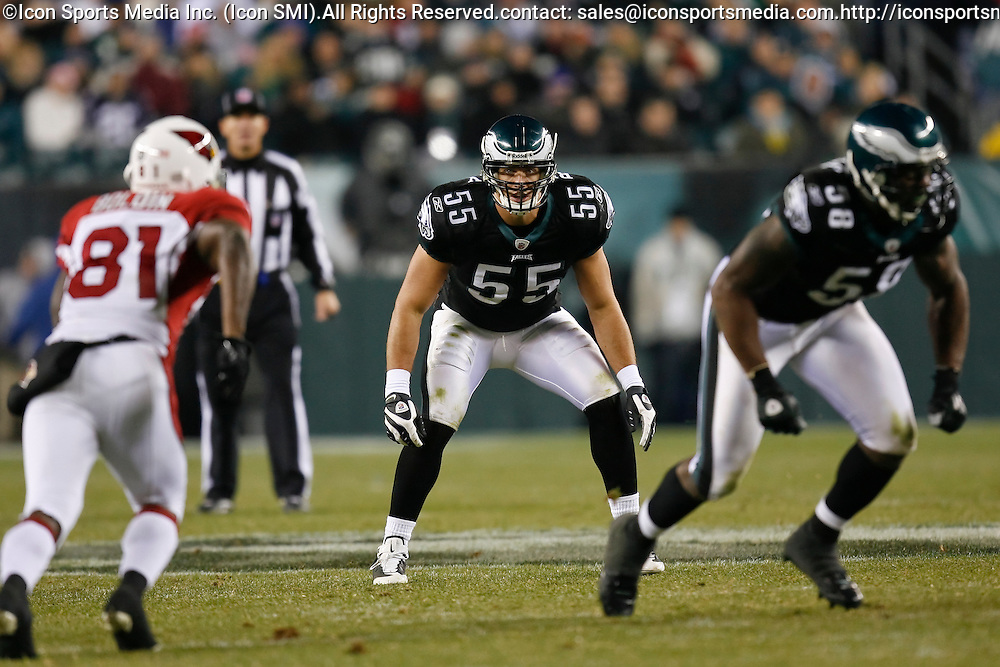 27 Nov 2008: Philadelphia Eagles linebacker Stewart Bradley #55 during the game against the Arizona Cardinals on November 27th, 2008. The Eagles won 48 to 20 at Lincoln Financial Field in Philadelphia, Pennsylvania.