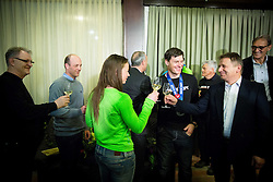 Tina Maze of Slovenia, 2-times gold winner, Ivica Kostelic of Croatia, silver medallist, Zlatko Tusek and Petar Skansi during reception at arrival from Sochi Winter Olympic Games 2014 on February 23, 2014 in Airport Zagreb, Croatia. Photo by Vid Ponikvar / Sportida