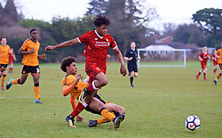 WOLVERHAMPTON, ENGLAND - Tuesday, December 19, 2017: Liverpool's Yasser Larouci and Wolverhampton Wanderer's Dion Sanderson during an Under-18 FA Premier League match between Wolverhampton Wanderers and Liverpool FC at the Sir Jack Hayward Training Ground. (Pic by David Rawcliffe/Propaganda)