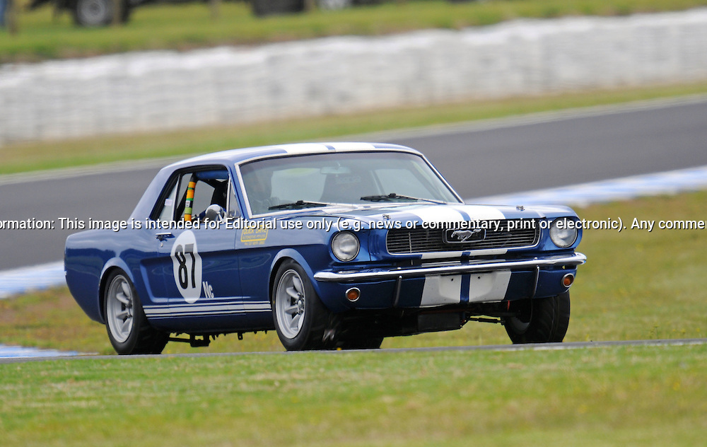 James Frolley - Ford Mustang.Historic Motorsport Racing - Phillip Island Classic.18th March 2011.Phillip Island Racetrack, Phillip Island, Victoria.(C) Joel Strickland Photographics.Use information: This image is intended for Editorial use only (e.g. news or commentary, print or electronic). Any commercial or promotional use requires additional clearance.