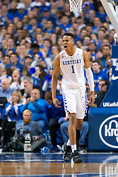 Kentucky forward Skal Labissiere celebrates a score in the first half. <br /> <br /> The University of Kentucky hosted the LSU Tigers, Saturday, March 05, 2016 at Rupp Arena in Lexington .