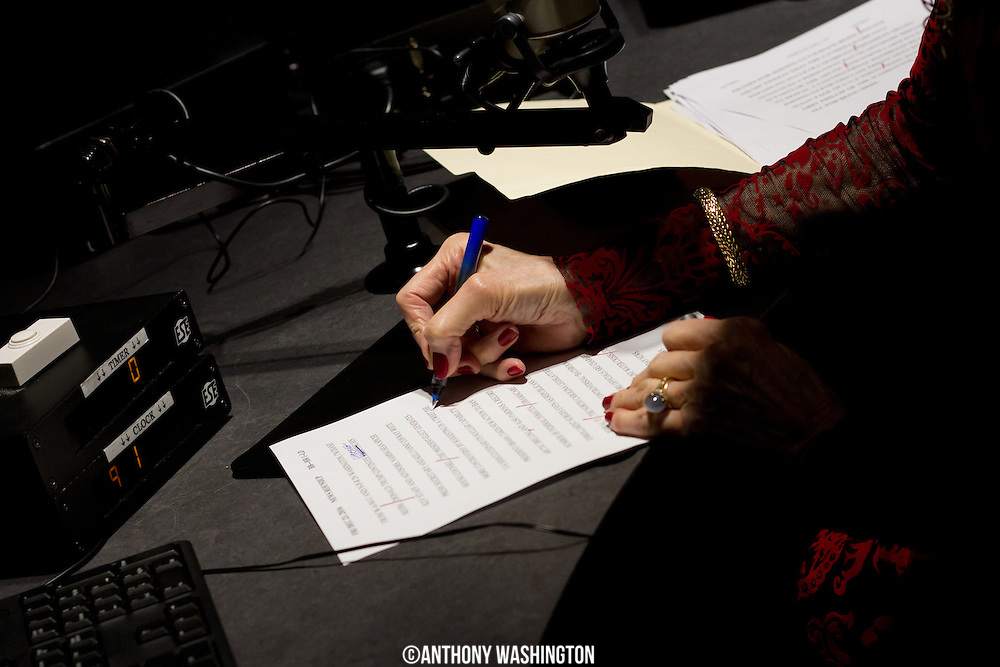 Diane Rehm, host of The Diane Rehm Show, edits her billboard script before recording and prior to hosting her final show on Friday, December 23, 2017 at WAMU 88.5 in Washington, DC.