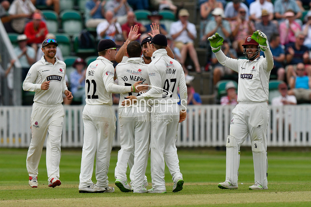 Wicket - Roelof van der Merwe of Somerset celebrates taking the wicket of Luke Fletcher of Nottinghamshire during the Specsavers County Champ Div 1 match between Somerset County Cricket Club and Nottinghamshire County Cricket Club at the Cooper Associates County Ground, Taunton, United Kingdom on 10 June 2018. Picture by Graham Hunt.