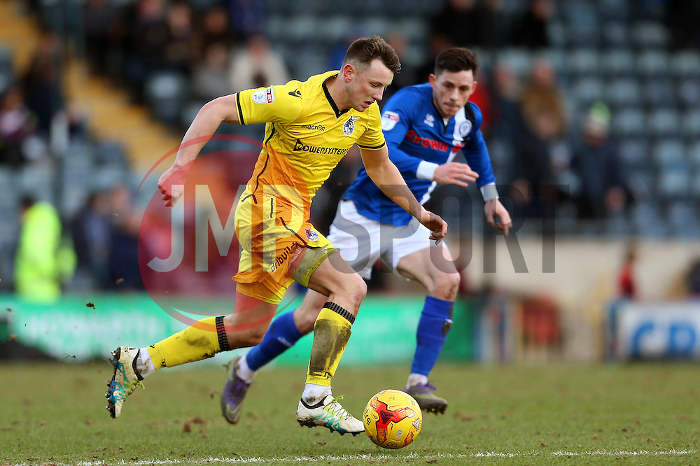 Ollie Clarke of Bristol Rovers takes on Ian Henderson of Rochdale- Mandatory by-line: Matt McNulty/JMP - 04/02/2017 - FOOTBALL - Crown Oil Arena - Rochdale, England - Rochdale v Bristol Rovers - Sky Bet League One