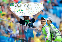 SAINT PETERSBURG, RUSSIA - Friday, June 22, 2018: A Brazil supporter during the FIFA World Cup Russia 2018 Group E match between Brazil and Costa Rica at the Saint Petersburg Stadium. (Pic by David Rawcliffe/Propaganda)