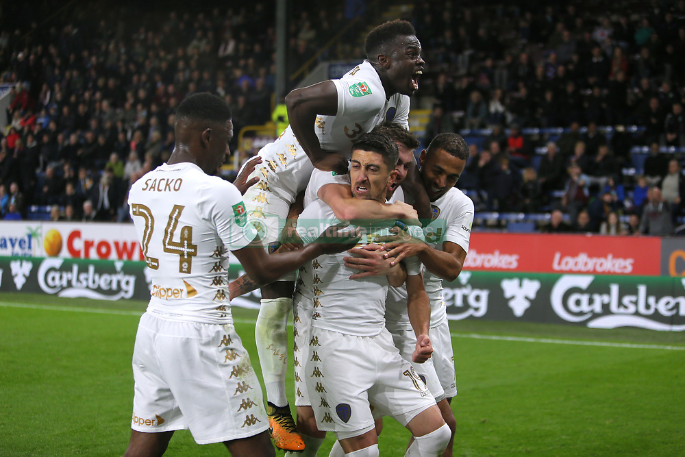 Leeds United's Pablo Hernandez (centre) celebrates scoring his side's second goal of the game during the Carabao Cup, third round match at Turf Moor, Burnley.