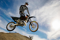 Motocross racer in mid-air