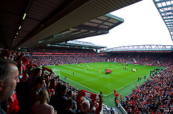 LIVERPOOL, ENGLAND - Saturday, September 16, 2017: A fans' view from the upper Anfield Road stand before the FA Premier League match between Liverpool and Burnley at Anfield. (Pic by Peter Powell/Propaganda)