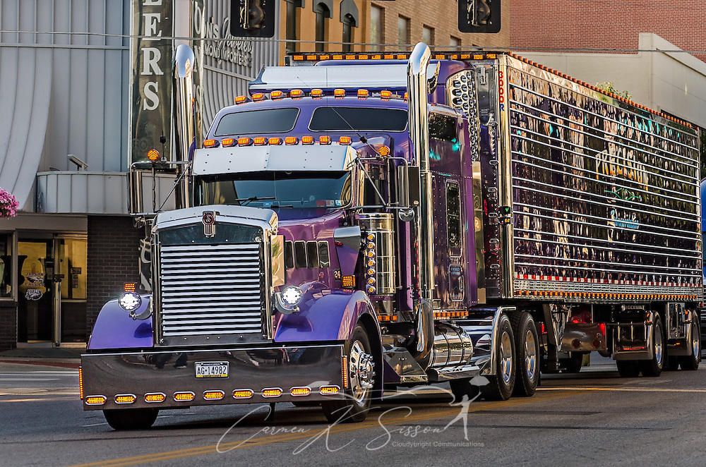Precision Transportation's Kenworth W900L drives down Main Street during the 34th annual Shell Rotella SuperRigs parade, June 10, 2016, in Joplin, Missouri. SuperRigs, organized by Shell Oil Company, is an annual beauty contest for working trucks. Approximately 89 trucks entered this year's competition. (Photo by Carmen K. Sisson/Cloudybright)