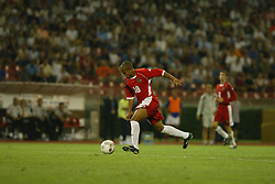 BELGRADE, SERBIA & MONTENEGRO - Wednesday, August 20, 2003: Wales' Robert Earnshaw during the UEFA European Championship qualifying match against Serbia & Montenegro at the Red Star Stadium. (Pic by David Rawcliffe/Propaganda)