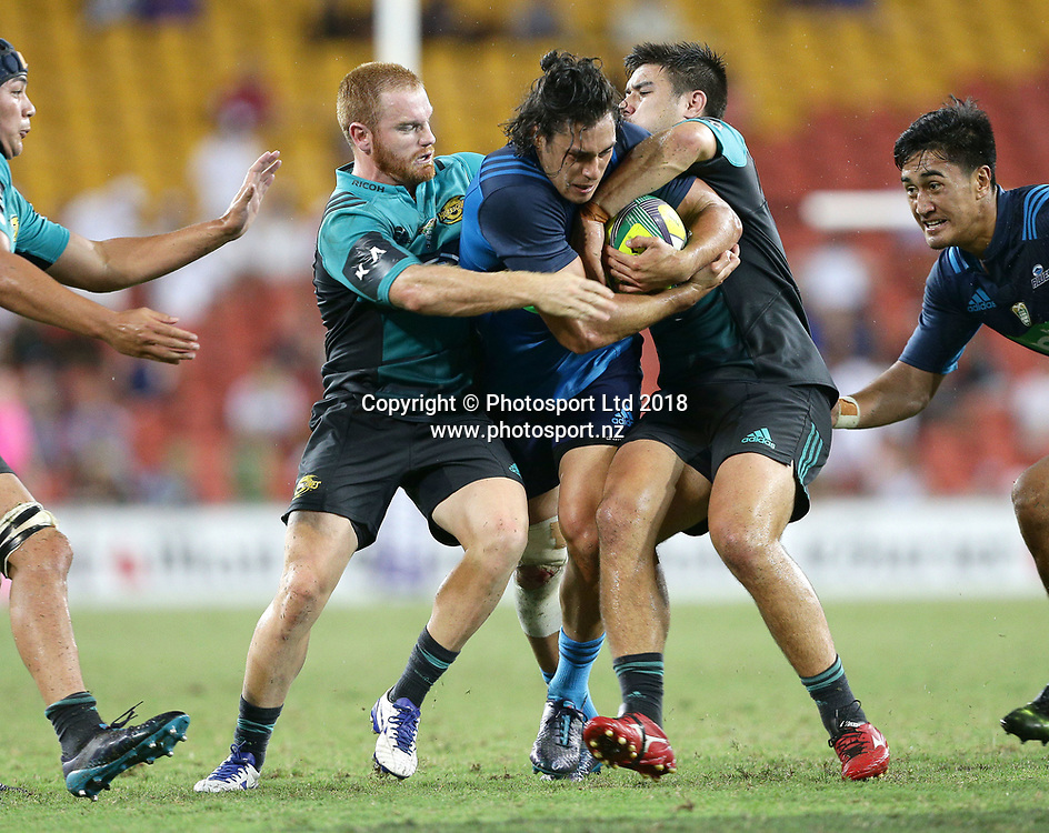 Jonathan Ruru of the Blues attacks in the final match between the Hurricanes and the Blues during the Global Tens Tournament at Suncorp Stadium, Brisbane, Australia on February 10, 2018. Photo : Tertius Pickard / www.photosport.nz