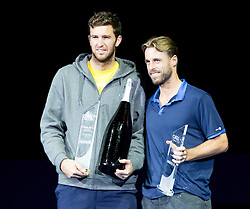 30.10.2016, Stadthalle, Wien, AUT, ATP Tour, Erste Bank Open, Siegerehrung, im Bild Fabrice Martin (FRA), Oliver Marach (AUT) // Fabrice Martin of France and Oliver Marach of Austria during Winner Award Ceremony of Erste Bank Open of ATP Tour at the Stadthalle in Vienna, Austria on 2016/10/30. EXPA Pictures © 2016, PhotoCredit: EXPA/ Sebastian Pucher