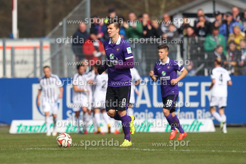 15.03.2015, Esprit-Arena, Aalen, GER, 2. FBL, VfR Aalen vs FC Erzgebirge Aue, 25. Runde, im Bild Stefan Mugosa ( FC Erzgebirge Aue ) nach dem 1:0 // during the 2nd German Bundesliga 25th round match between VfR Aalen and FC Erzgebirge Aue at the Esprit-Arena in Aalen, Germany on 2015/03/15. EXPA Pictures &copy; 2015, PhotoCredit: EXPA/ Eibner-Pressefoto/ Langer<br /> <br /> *****ATTENTION - OUT of GER*****
