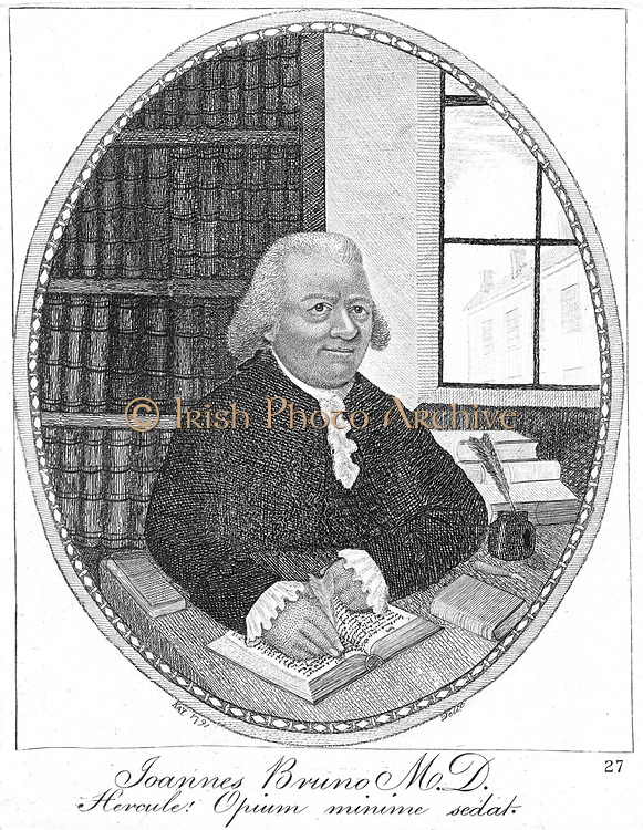 John Brown (1735-88) Scottish physician, 1791.  He proposed the Brunonian system of medicine which had two classes of disease 1: sthenic (resulting from excess) 2: asthenic (resulting from deficiency). Brown disapproved of blood-letting. Etching of 1791 by John Kay (1742-1826).