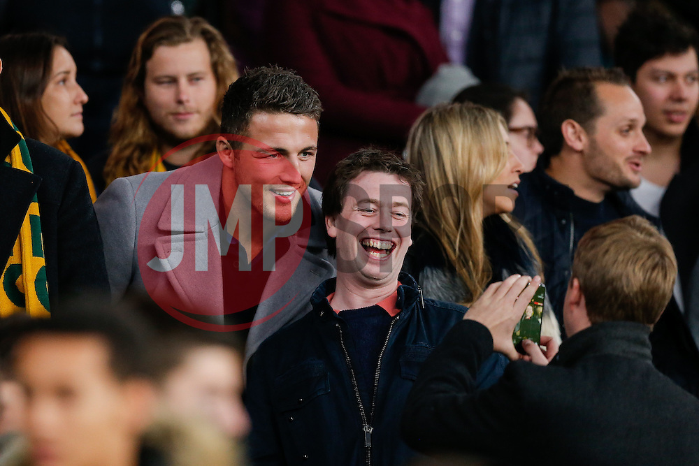 Rugby League conver Sam Burgess of Bath poses for Australia photo with fans in the stands after England beat Australia 26-17 - Photo mandatory by-line: Rogan Thomson/JMP - 07966 386802 - 29/11/2014 - SPORT - RUGBY UNION - London, England - Twickenham Stadium - England v Australia - QBE Autumn Internationals.