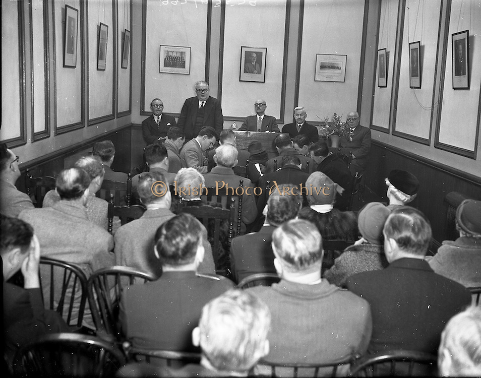 """10/03/1956<br /> 03/10/1956<br /> 10 March 1956<br /> Opening of National Agricultural and Industrial Development Association's """"Irish Week"""" at N.A.I.D.A., St. Stephen's Green, Dublin. At the launch were (l-r): Mr William Norton T.D.,  Minister for Industry and Commerce, Tanaiste and Labour Party leader speaking; Donnacha O Cinneide, B.E,  President of N.A.I.D.A.; Mr. P. Moylett, Past President and Mr. J.P.C. Hennessy, Past President."""
