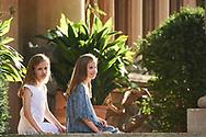 Crown Princess Leonor, Princess Sofia pose for the photographers at the Marivent Palace on July 31, 2017 in Palma de Mallorca, Spain.