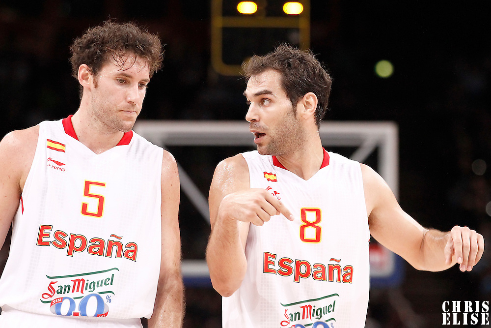 15 July 2012: Rudy Fernandez of Team Spain listens to Jose Calderon during a pre-Olympic exhibition game won 75-70 by Spain over France, at the Palais Omnisports de Paris Bercy, in Paris, France.