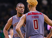 SOUTH BEND, IN - JANUARY 12: Wynston Tabbs #5 of the Boston College Eagles talks with Ky Bowman #0 of the Boston College Eagles during the game against the Notre Dame Fighting Irish at Purcell Pavilion on January 12, 2019 in South Bend, Indiana. (Photo by Michael Hickey/Getty Images) *** Local Caption *** Wynston Tabbs; Ky Bowman
