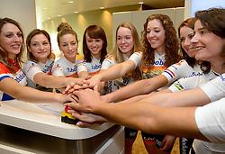 13-01-2014 WIELRENNEN: PRESENTATIE RABOBANK LIV DAMESTEAM 2014: UTRECHT<br /> In het hoofdkantoor van Rabobank Nederland werd het Rabo damesteam gepresenteerd <br /> &copy;2014-FotoHoogendoorn.nl