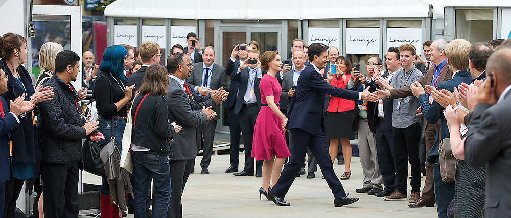 Labour Party Conference <br /> at Manchester Central, Manchester, Great Britain <br /> 23rd September 2014 <br /> <br /> Ed Miliband walking into the Conference centre prior to his leader's speech <br /> <br /> <br /> Photograph by Elliott Franks <br /> Image licensed to Elliott Franks Photography Services