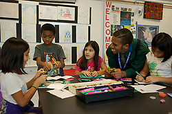 Stock photo of young students participating in art class at Lovett Elementary School in Houston Texas
