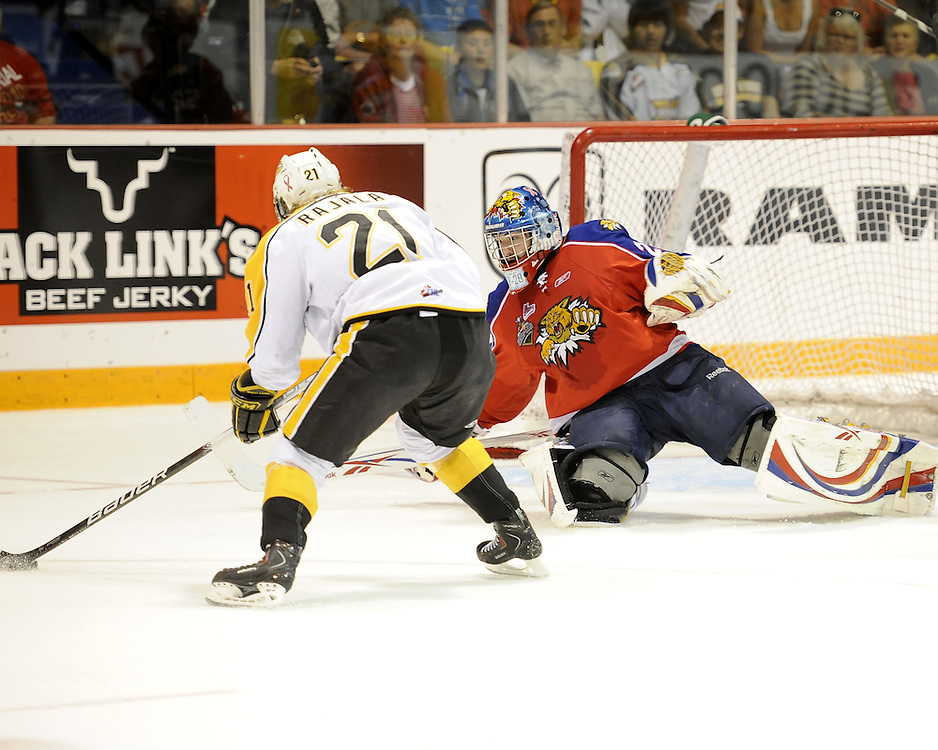 Nicola Riopel of the Moncton Wildcats makes a save on Toni Rajala in Game 3 of the 2010 MasterCard Memorial Cup in Brandon, MB on Sunday May 16. Photo by Aaron Bell/CHL Images