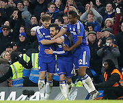 Chelsea midfielder Cesc Fabregas celebrates his equalising goal during the Barclays Premier League match between Chelsea and Everton at Stamford Bridge, London, England on 16 January 2016. Photo by Andy Walter.