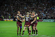 July 6th 2011: Maroons Justin Hodges, Sam Thaiday and Ben Hannant congratulate their captain Darren Lockyer after game 3 of the 2011 State of Origin series at Suncorp Stadium in Brisbane, QLD, Australia on July 6, 2011. Photo by Matt Roberts / mattrimages.com.au / QRL