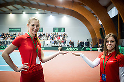 Adecco girls during Day 1 of the Davis Cup Slovenia vs Monaco competition, on February 3, 2017 in Tennis Arena Tabor, Maribor Slovenia. Photo by Vid Ponikvar / Sportida
