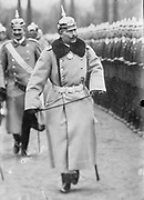 Wilhelm II (1859-1941) Emperor of Germany 1888-1918, in uniform and wearing a pickelhelm, reviewing troops. Military Army Uniform