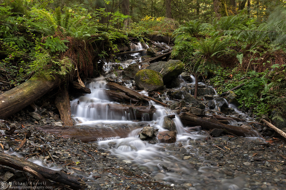 A small waterfall on Bridal Creek just downstream from Bridal Veil Falls.  Photographed in Bridal Veil Falls Provincial Park in Chilliwack, British Columbia, Canada.