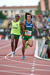JACQUES Yeltsin Guide:  SANTOS Carlos, BRA, 800m, T12, 2013 IPC Athletics World Championships, Lyon, France