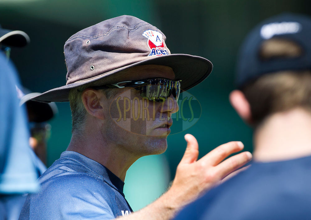 Coach Paul Strang speaks to the team during the Auckland Aces practice session held a Kingsmead Stadium in Durban on the 18th October 2012..Photo by Rogan Ward/SPORTZPICS/CLT20