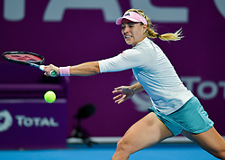 DOHA, Feb. 14, 2019  Angelique Kerber of Germany hits a return during the women's singles second round match between Angelique Kerber of Germany and Anett Kontaveit of Estonia at the 2019 WTA Qatar Open in Doha, Qatar, Feb. 13, 2019. Angelique Kerber won 2-0. (Credit Image: © Nikku/Xinhua via ZUMA Wire)