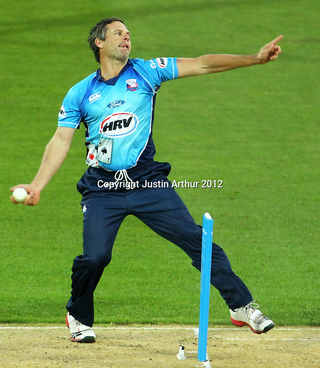 Aces' Brad Hodge bowling during the 2012/2013 HRV Cup Twenty20 session. Wellington Firebirds v Auckland Aces at Westpac Stadium, Wellington, New Zealand on Friday 16 November 2012. Photo: Justin Arthur / photosport.co.nz