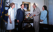 .Presidents Richard Nixon and Lyndon Baines Johnson and  Patricia Nixon and Lady Bird Johnson looks at the replica of the Oval Office in the LBJ Library in Austin, Texas on the day of the opening May 24, 1971...Photgraph by Dennis Brack BS B13