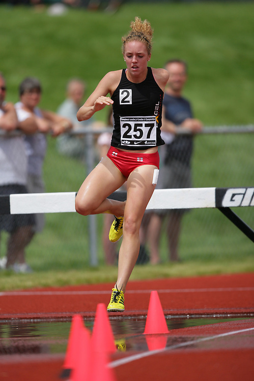 (Charlottetown, Prince Edward Island -- 20090719) Jessica Furlan of Excel Athletika competes in the 2000m steeplechase finals at the 2009 Canadian Junior Track & Field Championships at UPEI Alumni Canada Games Place on the campus of the University of Prince Edward Island, July 17-19, 2009.  Geoff Robins / Mundo Sport Images ..Mundo Sport Images has been contracted by Athletics Canada to provide images to the media.