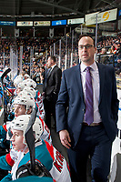 KELOWNA, CANADA - MARCH 3: Kelowna Rockets' assistant coach Kris Mallette walks across the bench against the Spokane Chiefs on March 3, 2018 at Prospera Place in Kelowna, British Columbia, Canada.  (Photo by Marissa Baecker/Shoot the Breeze)  *** Local Caption ***