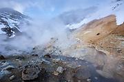 Seltun Geothermal area at Krysuvik - Seltunshverir - Krysuvíkurhverir with minerals sediments. Sulphur reacts with oxygen and water to form gypsum, Iceland