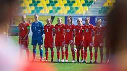 LARNACA, CYPRUS - Wednesday, March 7, 2018: Wales players before the Cyprus Women's Cup match between Austria and Wales on day nine of the Cyprus Cup tournament at the AEK Arena - Georgios Karapatakis. L-R: captain Sophie Ingle, goalkeeper Laura O'Sullivan, Loren Dykes, Alice Griffiths, Gwennan Davies, Charlie Estcourt, Melissa Fletcher. (Pic by David Rawcliffe/Propaganda)
