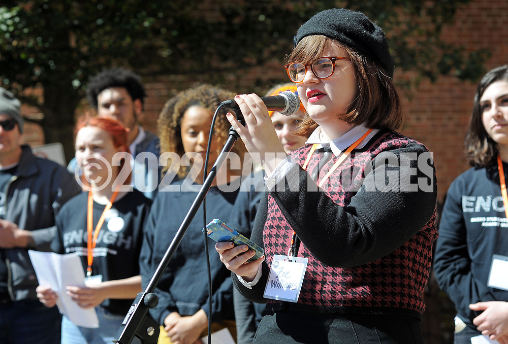 Zoe Williams reads a poem she wrote during  rally at the old Bucks County Courthouse to protest gun violence and to demand stronger gun control  Saturday, March 24, 2018 during the March For Our Lives in Doylestown, Pennsylvania. (Photo By William Thomas Cain/Cain Images)