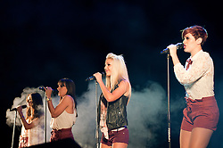 """Girl Band """"Vanquish"""", Bee, Holly, Lizzy, Rianna perform at Meadowhalls Christmas lights switch on concert in Sheffield on Thursday evening 3 November 2011. Image © Paul David Drabble"""