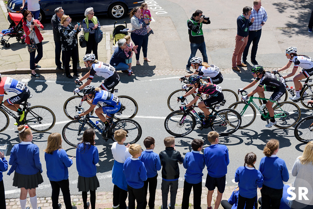 Peloton speed past school children in Rothwell - Stage 1 of the OVO Energy Women's Tour - a 147.5 km road race, between Daventry and Kettering on June 7, 2017, in Northamptonshire, United Kingdom. (Photo by Sean Robinson/Velofocus.com)