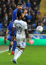 Callum Paterson of Cardiff City and Jacques Maghoma of Birmingham City compete for the highball- Mandatory by-line: Nizaam Jones/JMP - 10/03/2018 -  FOOTBALL -  Cardiff City Stadium- Cardiff, Wales -  Cardiff City v Birmingham City - Sky Bet Championship
