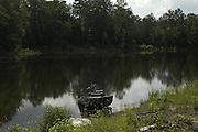 EXCLUSIVE***The earthen dam now a pond where James chaney,Micjael Schwerner and Andrew Goodmans bodies were found.to the burial site in the earthen dam on Olen Burrages property in Philadelphia,Ms. Friday June 17,2005. There has been no journalists who have ventured to the site in 40 years,until now. James Chaney,Michael Schwerner and Andrew Goodmans bodies were pulled from this site in 1964. Edgar Ray Killen is on trial for there murder.(Photo/Suzi Altman)