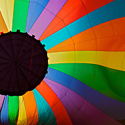 The view from inside a hot air balloon being inflated looks like a giant multi-colored flower at the Flying Circus Balloonfest in Bealton, VA.
