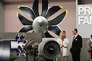 Aircraft jet engine dispay at the Paris Air Show, at Le Bourget Airport, France. Held every other year, the event is one of the world's biggest international trade fairs for the aerospace business.