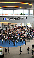Denver, CO - HR 2013: Attendees wait to enter the Bellco Theatre for speech by President Bill Clinton at Heart Rhythm 2013, the Heart Rhythm Society's 34th Annual Scientific Session here today, Wednesday, May 8, 2013 at the Colorado Convention Center. Heart Rhythm 2013 showcases the latest science, discovery and innovation that are essential to quality care for patients. More than 14,000 physicians, researchers and health care professionals explored state-of-the-art diagnosis and treatment options from internationally recognized leaders in the field of heart rhythm disorders. Date: Wednesday, May 8, 2013 Photo by © HRS/Al Diaz 2013 Technical Questions: todd@medmeetingimages.com; Phone: 612-226-5154.